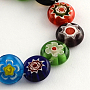 Flat Round Handmade Millefiori Glass Beads, Mixed Color, 6x3mm, Hole: 0.5mm; about 65pcs/strand, 14.1""