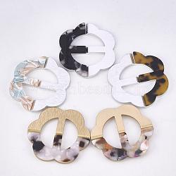 Boucles en aluminium et acétate de cellulose (résine), fleur, couleur mixte, 49x45.5x4.5~5mm, Trou: 26.5x12mm(ALUM-S016-13)