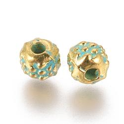 perles d'alliage, rondelle, cahoteux, patine dorée et verte, 4.2x3.8 mm, trou: 1.2 mm(PALLOY-E566-21GG)