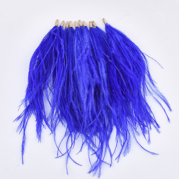 Ostrich Feather Tassel Big Pendant Decorations, with Brass Findings, Golden, Blue, 130~170x4mm, Hole: 1.6mm(FIND-S302-08H)