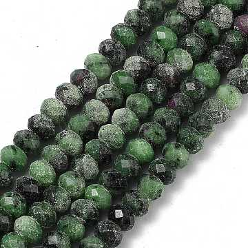 Natural Ruby in Zoisite Beads Strands, Faceted, Luminous, Rondelle, 8x6mm, Hole: 1mm, about 72pcs/strand, 15.75''(40cm)(G-I308-06)