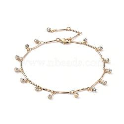 браслеты, с реальными 18 k позолоченными латунными цепочками из латуни, застежки из когтей омара и латунные подвески со стразами, с картонной коробкой, кристалл, 8-5 / 8 (22 см)(AJEW-AN00280)