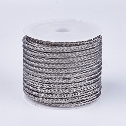 Braided Steel Wire Rope Cord, Slate Gray, 3mm, about 5.46 yards(5m)/roll(TWIR-G001-05)