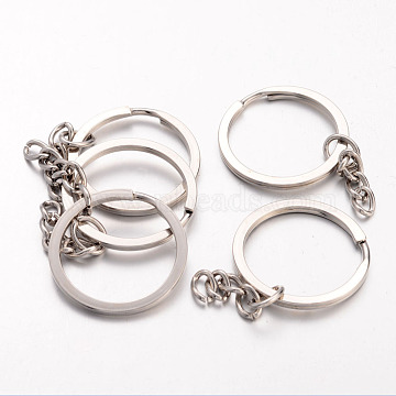 Iron Split Key Rings, Keychain Clasp Findings, Platinum, 25mm(X-IFIN-H040-N)