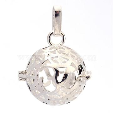 Rack Plating Brass Cage Pendants, For Chime Ball Pendant Necklaces Making, Hollow Round with Om Symbol, Silver Color Plated, 25x24x20.5mm, Hole: 3x7mm, inner measure: 18mm(KK-S751-012S)