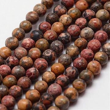 Natural Leopard Skin Jasper Beads Strands, Round, 4mm, Hole: 0.5mm, 100pcs/strand, 15.7 inches(G-N0181-02-4mm)