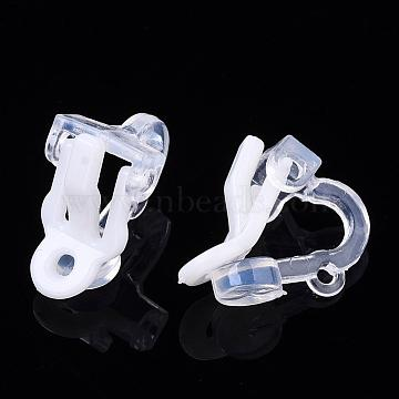 Plastic Clip-on Earring Findings, White, 14x9x13mm(X-FIND-Q001-02A)