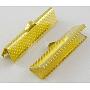 железа концы тесемки, золотистого цвета, о 8 mm длиной, 16 mm шириной, отверстия: 1 mm