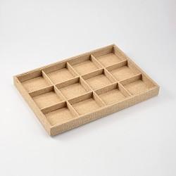 Boîtes en bois rectangle pesentation, recouvert de toile de chanvre, 12 compartiments, burlywood, 24x35x3 cm(ODIS-N016-06)
