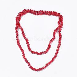 Colliers à deux niveaux avec perles de corail de bambou de mer (imitation de corail), colliers double couche, rouge, 46.4'' (118 cm)(NJEW-S414-26)