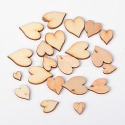 Cabochons de bois de coeur, burlywood, 8~18x6~15x2mm(WOOD-D011-02)