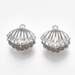 Pendentifs en forme de zircon cubique en laiton, pour perle à moitié percée, coquille, clair, Platine plaqué réel, 12x12.5x8.5mm, trou: 1.4 mm; broches: 1 mm(KK-S350-126P)