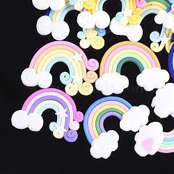 Cabochons en pâte polymère manuels, arc en ciel, couleur mixte, 24~30x32~41x4~5mm(CLAY-S091-08B)