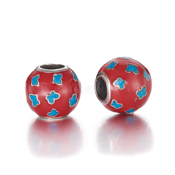 Antique Silver Plated 925 Sterling Silver European Beads, Large Hole Beads, with Enamel, Carved with 925, Round with Butterfly, Red, 11x10mm, Hole: 4.5mm(STER-L062-02AS)