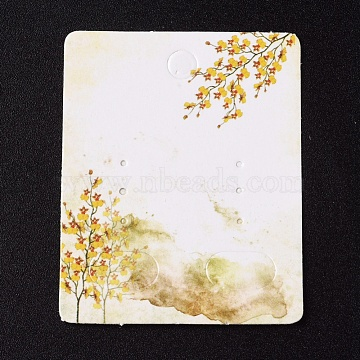 Paper Jewelry Display Cards, for Hanging Earring Display, Rectangle with Tree, White, 50x40x0.3mm, Hole: 5.3mm(X-CDIS-G002-07A-08)