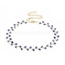 """Colliers ras du cou en perles de verre, avec fermoirs pince de homard en laiton et chaînes torsadées en fer, or, mediumblue, 13.3"""" (33.8cm); 12mm(NJEW-JN02500-02)"""