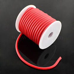 Cordon en caoutchouc synthétique, creux, enroulé aurond de plastique blanc bobine, rouge, 5mm, trou: 3 mm; environ 10 m / rouleau(RCOR-R001-5mm-11)