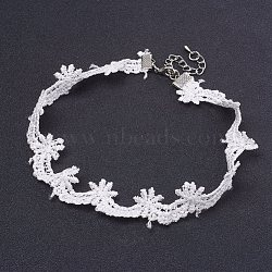 Cloth Gothic Choker Necklaces, with Iron Finding, Platinum, White, 12.9inches(33cm)(NJEW-E085-27A)