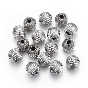 304 Stainless Steel Corrugated Beads, Round, Stainless Steel Color, 8mm, Hole: 2mm(STAS-P218-24-8mm)