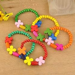 Bracelets colorés en bois pour enfants, cadeaux de fête des enfants, élastique, couleur mixte, 45mm(BJEW-JB00741)