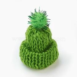 Décoration de chapeau en laine tressé manuel, diy artisanat décoration, avec paillette en plastique, limegreen, 33~38x43~48mm(AJEW-L066-A02)