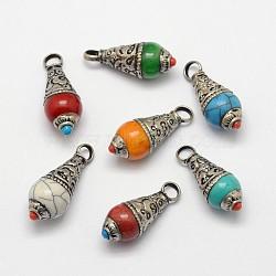 Pendentifs d'oreilles en laiton, avec de la résine et l'argent antique, couleur mixte, 27x11mm, Trou: 4mm(PALLOY-F127-B-08)