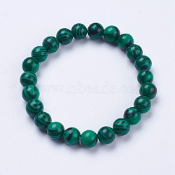 """Bracelets extensibles perlés en malachite synthétique, rond, 2"""" (52 mm)(BJEW-I253-8mm-01)"""