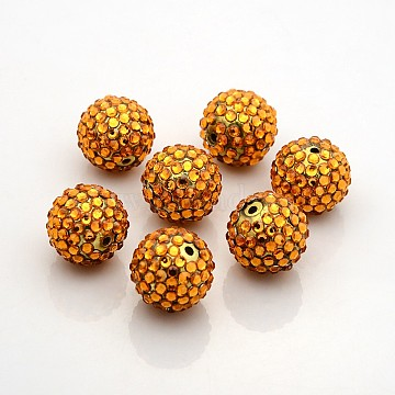 Chunky Resin Rhinestone Bubblegum Ball Beads, Round, Goldenrod, 20x18mm, Hole: about 2.5mm(RESI-S260-20mm-S1)