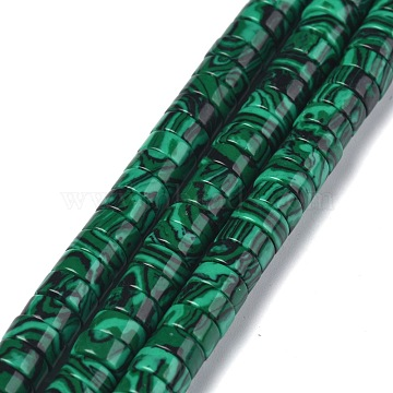 Synthetic Malachite Beads Strands, Heishi Beads, Flat Round/Disc, 6x3mm, Hole: 1mm, about 119~131pcs/strand, 14.76~15.74 inches(37.5~40cm)(G-Z006-C05)