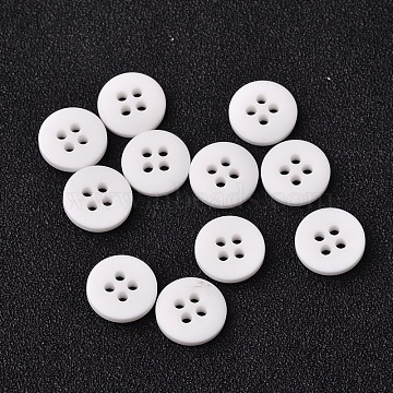 Frosted Flat Round Resin Sewing Buttons, 4-Hole, White, 18x3mm, Hole: 2mm(BUTT-F059-28L-01)