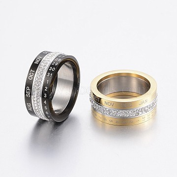Rotatable 304 Stainless Steel Rings, with Polymer Clay Rhinestone, Wide Band Rings, Number & Month, Mixed Color, Size 6~10, 16~20mm(RJEW-P063-38)