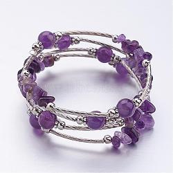 """Quatre boucles envelopper perles améthyste bracelets, avec des perles de fer et des accessoires de séparateur de style tibétain fleur, violet, 2-1/8"""" (55 mm)(BJEW-JB02590-05)"""
