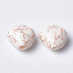 Perles acryliques imprimées, peachpuff, 23.5x23.5x13mm, Trou: 3mm(MACR-T024-35B)