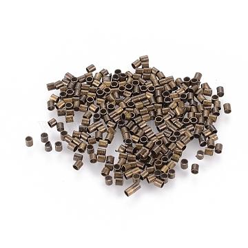 1700pcs 1.5mm Brass Tube Crimp End Beads, Cadmium Free & Nickel Free & Lead Free, Antique Bronze Color, hole: 1mm,1700pcs/10g(X-E001-NFAB)