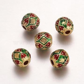 Alloy Enamel Beads, Rondelle, Light Gold, 10.5x10mm, Hole: 3mm(ENAM-G157-01G)