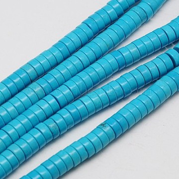 6mm DeepSkyBlue Flat Round Synthetic Turquoise Beads