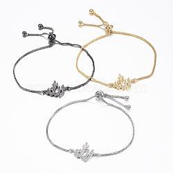 """Bracelets réglables en laiton avec zircone cubique à micro-pavé, bracelets bolo, allah, couleur mixte, 10-1/4"""" (260 mm); 1.2mm(BJEW-E317-35)"""