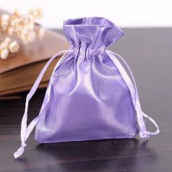 Sacs en tissu rectangle, avec cordon de serrage, lilas, 9x6.5 cm(X-ABAG-R007-9x7-08)