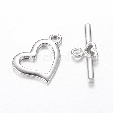 Alloy Toggle Clasps, Cadmium Free & Lead Free, Heart, Platinum, Heart: 15x19mm, Hole: 1.8mm; bar: 22x9mm, Hole: 1.8mm.(X-PALLOY-B883-N)