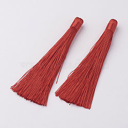 Décorations de gros pendentif pompon en nylon, rouge, 120x10mm, Trou: 5mm(X-HJEW-G010-B01)