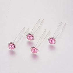 (vente de clôture défectueuse), fourches de cheveux de dame, avec des résultats de fer de couleur argent, perle d'imitation acrylique et strass, fleur, cristal, flamant, 75 mm(PHAR-XCP0001-I03)