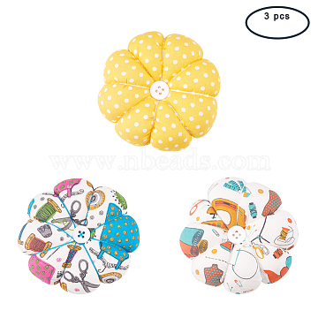 PandaHall Elite Cloth Needle Pin Cushions, with Cotton and Rubber, Flower, Mixed Color, 89x34mm; 86x33mm; 89x34mm; 3pcs/set(TOOL-PH0016-23)