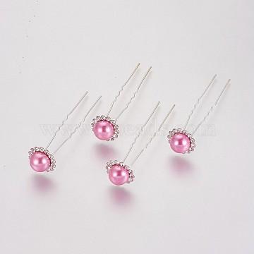 Silver Flamingo Acrylic Hair Forks
