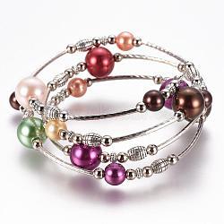 """Bracelets à perles en perles en verre, quatre boucles, Avec perles en laiton et entretoises en perles de fer, argent antique et le platine, colorées, 2-1/8"""" (53 mm)(BJEW-JB02860-11)"""