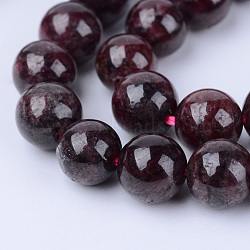 "Chapelets de perles de grenat naturel, rond, 5.5~6.5mm, trou: 1mm; environ 63 pcs/chapelet, 15.5""(G-Q462-6mm-23)"