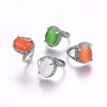 304 Stainless Steel Cat Eye Wide Band Rings, with Rhinestones, Mixed Color, Stainless Steel Color, Size 5~8, 15~18mm(RJEW-H128-09P)