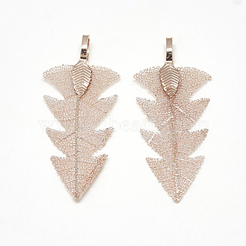 Iron Pendants, Electroplate Natural Leaf, Leaf, Rose Gold Plated, 48~50x20x1.5mm, Hole: 3x5.5mm(X-IFIN-T006-15RG)