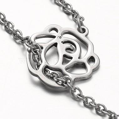 Flower Stainless Steel Lariat Necklaces(NJEW-JN01280-02)-4