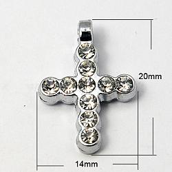 Zinc alliage strass croisées pendentifs, Grade a, platine, 20x14x3mm, Trou: 2mm(X-RB-E380-74P)