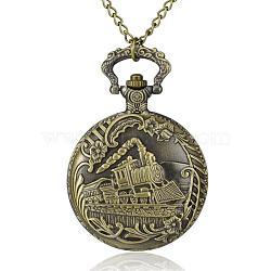 """Rond et plat avec le train alliage quartz montres de poche, avec des chaînes de fer et fermoirs pince de homard, bronze antique, 31.4""""; cadran montre: 67x47x16 mm; boitier montre: 35 mm(WACH-N039-11AB)"""
